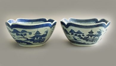 Pair Chinese Blue & White Square Salad Bowls