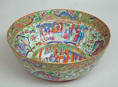 Chinese Famille Rose Mandarin Punch Bowl