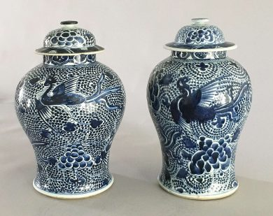 Chinese Mached Pair Blue and White Vases and Lids