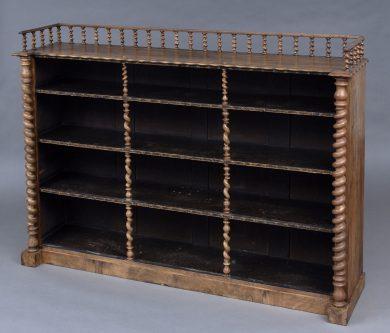 Antique English Victorian Walnut Open Bookcase With Barley Twist Columns & Gallery