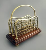 English Brass and Mahogany Letter Rack