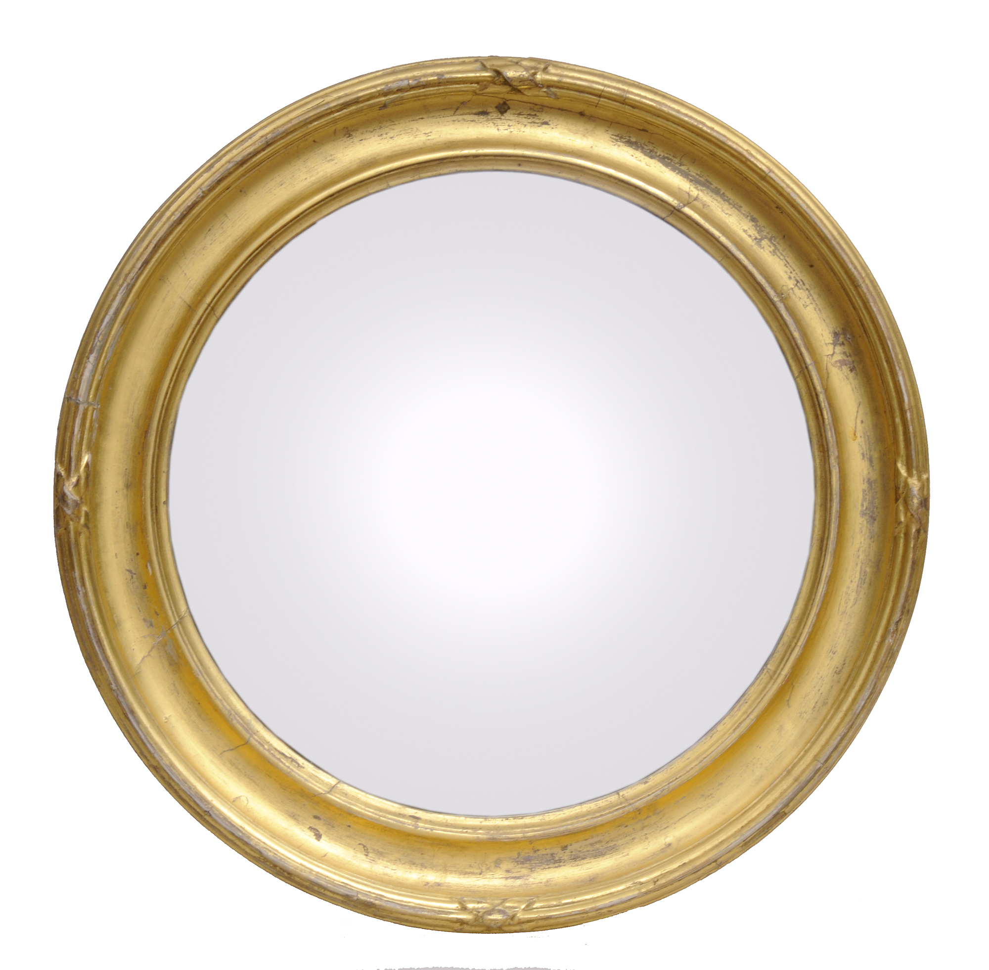 Antique Giltwood Convex Mirror With Concave Frame