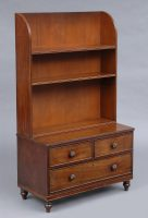 Antique English Small Georgian Mahogany Open Bookcase With Drawers-Front Angled View
