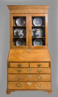 Antique George III Pine Bureau Bookcase-Main Front View