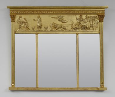 Antique Giltwood Overmantle Mirror