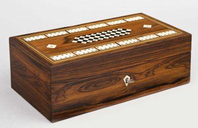 Antique English Inlaid Cribbage Box, Circa 1860