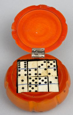 Antique English Melon-Shaped Domino Box, Circa 1880