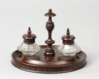Antique English Oval Inkstand, Circa 1860