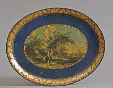 Antique English Oval Painted Tole Tray, Circa 1830