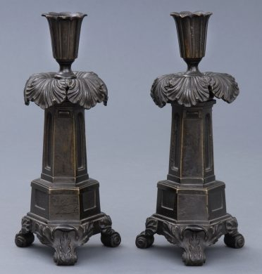 Antique English Pair of Regency Bronze Candlesticks