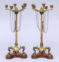 Antique English Pair Renaissance Revival Candelabra-Main Front View