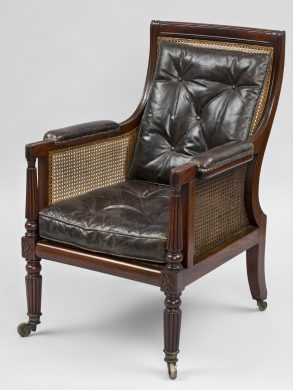 Antique English Regency Caned Library Armchair