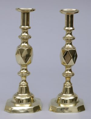 Antique English Victorian Pair of Brass Candlesticks