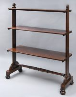 Antique English William IV Mahogany Three Tiered Buffet or Bookshelves-Main Front Angled View