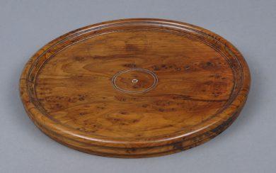 Antique English Yew Wood Tray, Circa 1880