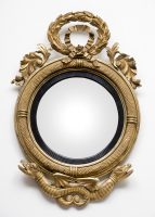 Period American Federal Giltwood Convex Mirror