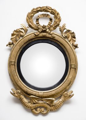 Period Federal Giltwood Convex Mirror with Hippocampus
