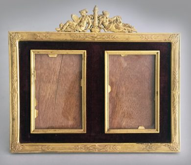 French Gilded Bronze Double Picture Frame