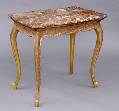 Antique French Giltwood and Breche Marble Console Table, Circa 1860