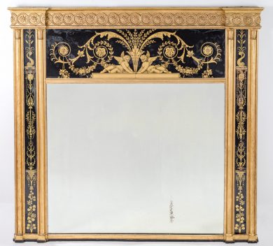 Important Adam Period Eglomise Giltwood Overmantle Mirror