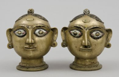 Antique Indian Bronze Heads of Gauri, 19th Century