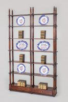 Antique Italian Fruit Wood Open Bookcase- Front Angled View