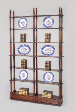 Antique Italian Fruit Wood Open Bookcase