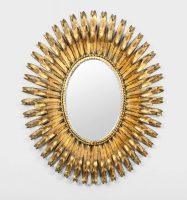 Italian Gilt Metal Oval Mirror By S. Salvadori-Main Front View