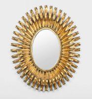 Italian Gilt Metal Oval Mirror By S. Salvadori