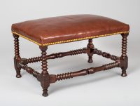 Antique Italian Walnut Leather Stool-Main Angled View