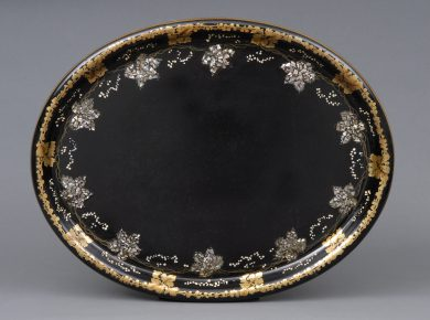 Antique Lacquered Papier Mache Tray, Circa 1880