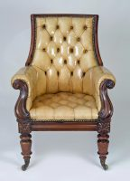 Late Regency Mahogany and Leather Library Armchair