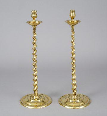 Antique Pair Tall Brass Spiral Twist Candlesticks