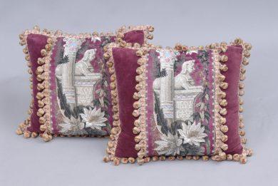 Antique Pair of Egyptian Revival Cushions, Circa 1860