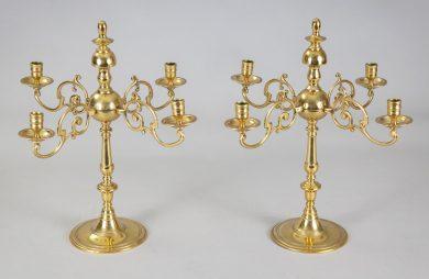 Antique English Brass Candelabra, Pair