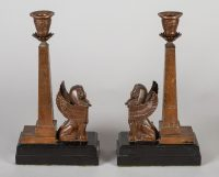 Antique Pair of English Egyptian Revival Candlesticks-Main Side View