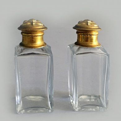 Antique Pair French Crystal Perfume Bottles