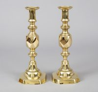 "Antique Pair Brass ""The King of Diamonds"" Candlesticks-Main View"
