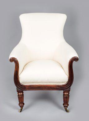 Regency Mahogany Lyre-Shaped Armchair