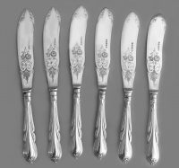 Antique Set of Six Silver Plate Fish Knives