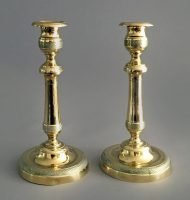Circa 1840 Pair English Brass Antique Candlesticks Engine Turning-Main