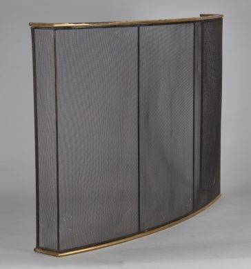 Brass and Wire Mesh Fireplace Fender
