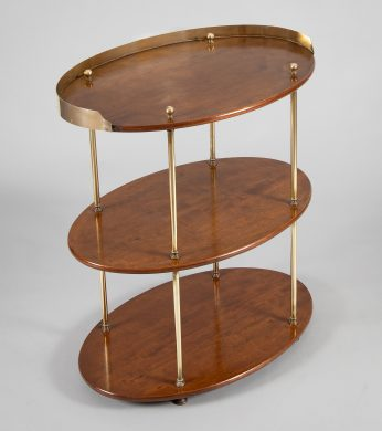 Campaign Mahogany and Brass Tiered Stand