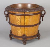 Wood and Cast Iron Jardiniere or Log Bin