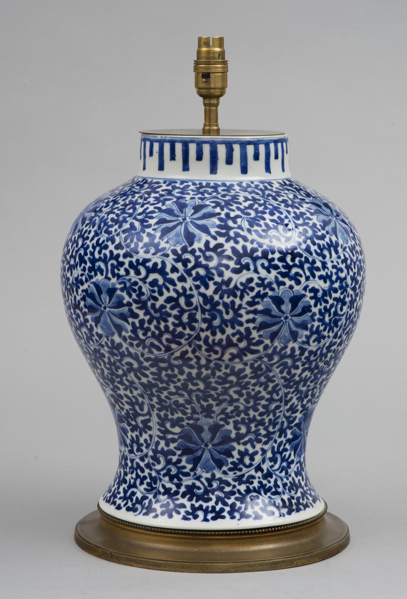 Chinese Blue Amp White Porcelain Vase Lamp Circa 1880