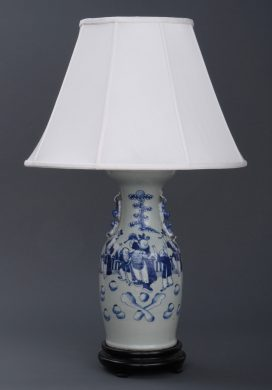 Chinese Antique Celedon Lamp, Circa 1890
