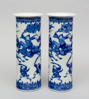 Pair Chinese Blue and White Cylindrical Vases