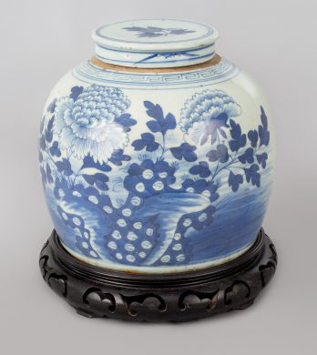 Chinese Canton Blue and White Squat Vase