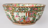 Chinese Export Famille Rose Medallion Punch Bowl