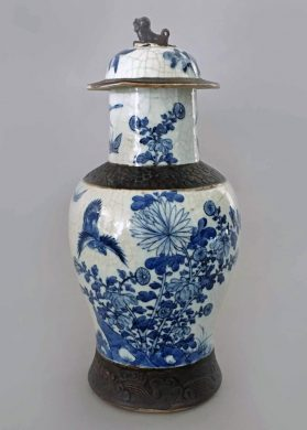 Chinese Blue and White Crackleware Vase with Lid